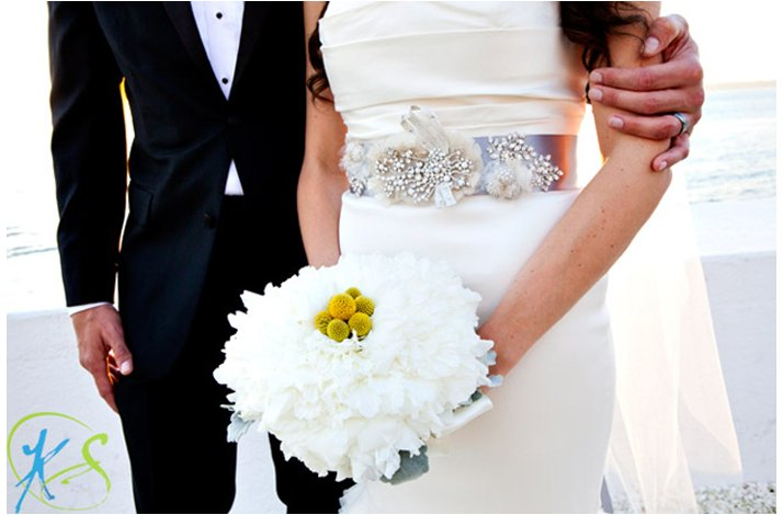 White and yellow bridal bouquet, wedding flowers 2