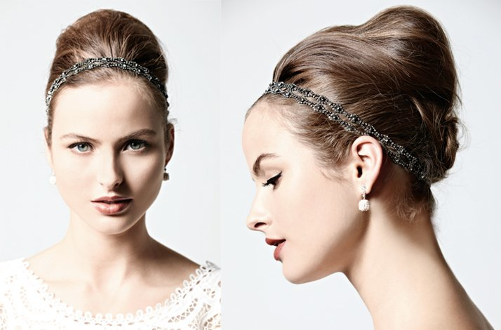 Vintage-inspired BHLDN Bridal Updo With Headband