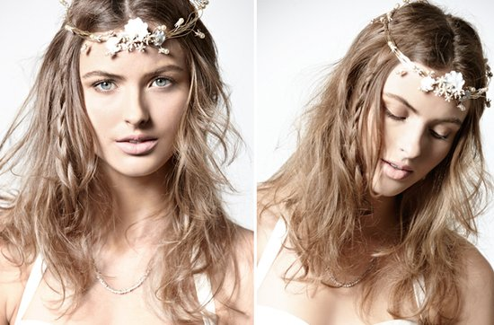 vintage-inspired wedding hairstyle- messy all-down hair for bohemian brides