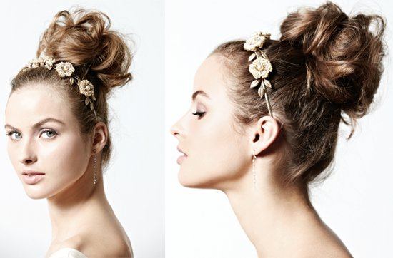 vintage-inspired wedding hairstyle- messy ballerina bun