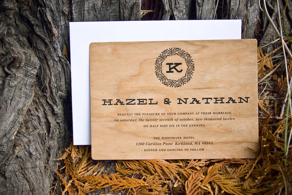 rounded wood wedding invitations with black print