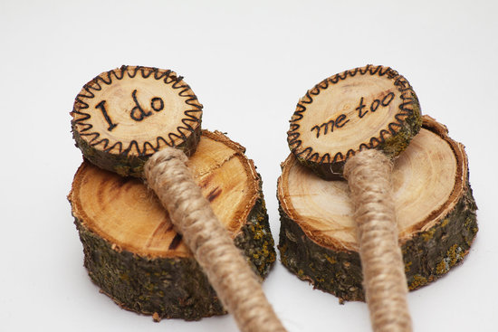 Rustic wood pens for the bride and groom