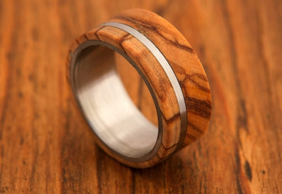 Wood and titanium grooms wedding band