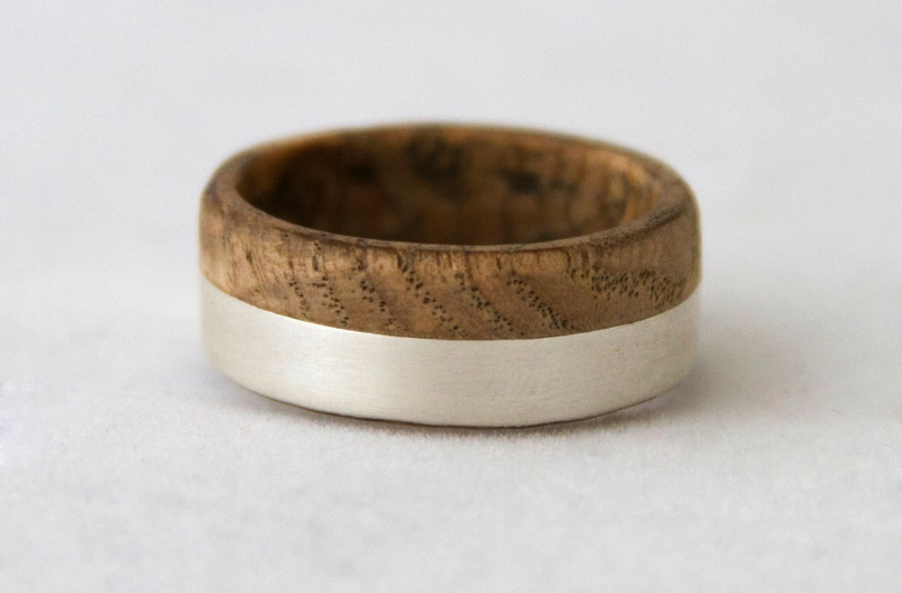 titanium and wood split wedding band for grooms