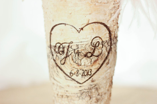 wood wedding centerpiece vase engraved with the couples initials