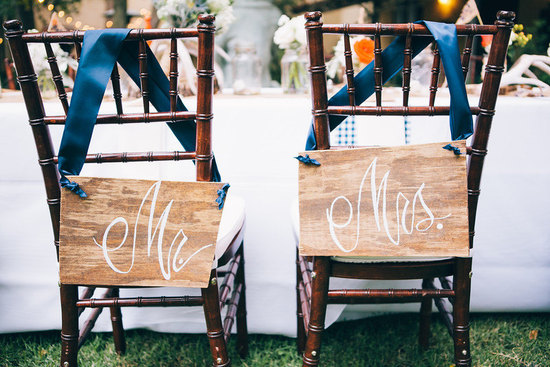 Rustic elegant wood wedding signs with navy ribbon