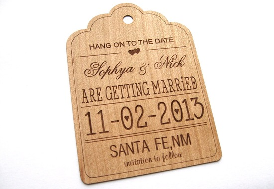 wood hang tag wedding save the date