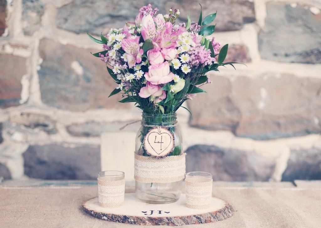 Wood slice wedding centerpiece stands