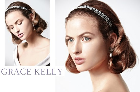 Vintage-inspired wedding hairstyle with bridal headband
