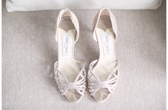 Soft and romantic real wedding Jimmy Choo shoes