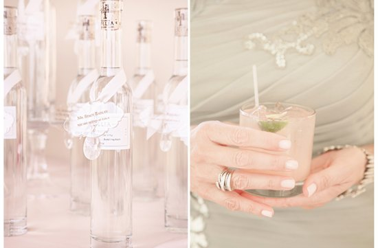 Soft and romantic real wedding elegant favors and signature drinks
