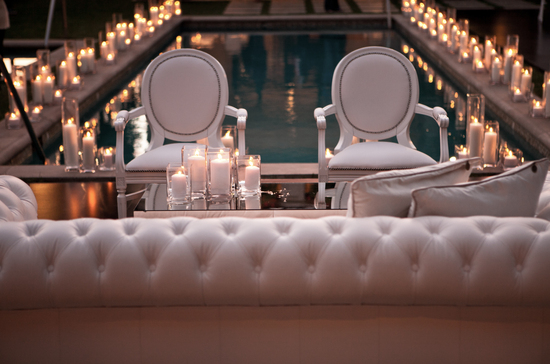 Candle lit wedding reception around a pool