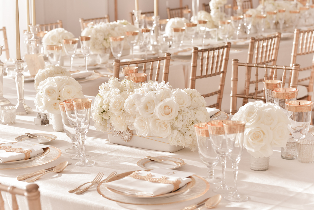 Elegant Ivory Wedding Centerpieces With Rose Gold Table Accents And