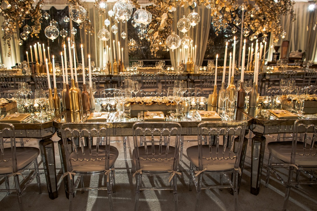 Festive Gold Silver And Ivory Wedding Reception Design