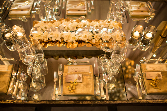 enchanted metallic and ivory wedding tablescape