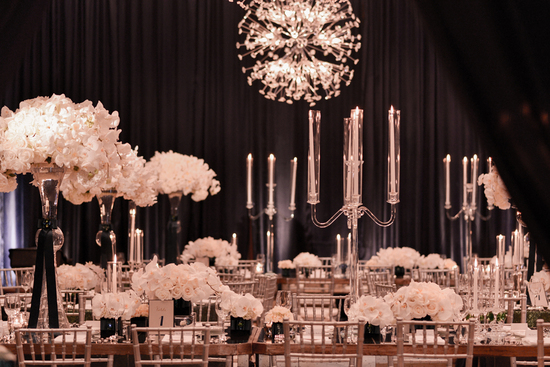 black and white glamorous wedding reception
