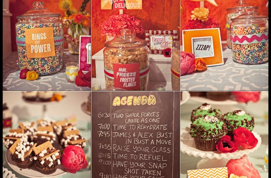 Offbeat wedding theme: superhero wedding ideas, dessert at wedding reception