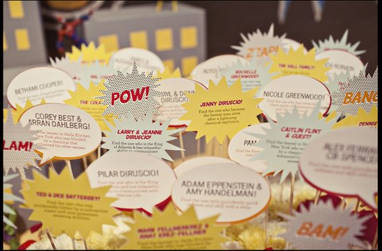 Offbeat wedding theme: superhero wedding ideas, escort cards