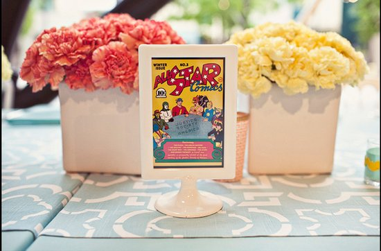 Offbeat wedding theme: superhero wedding ideas, table numbers