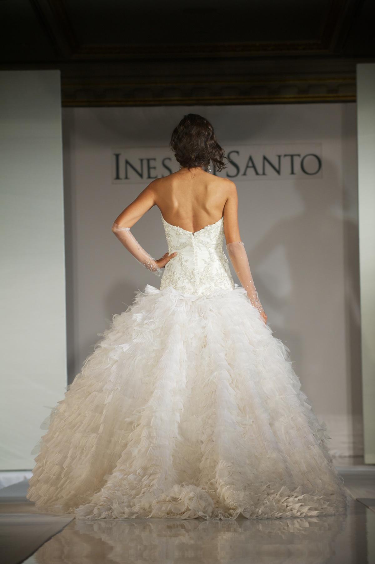 2012 wedding dress trends feather like embellishments for Ines di santo wedding dress