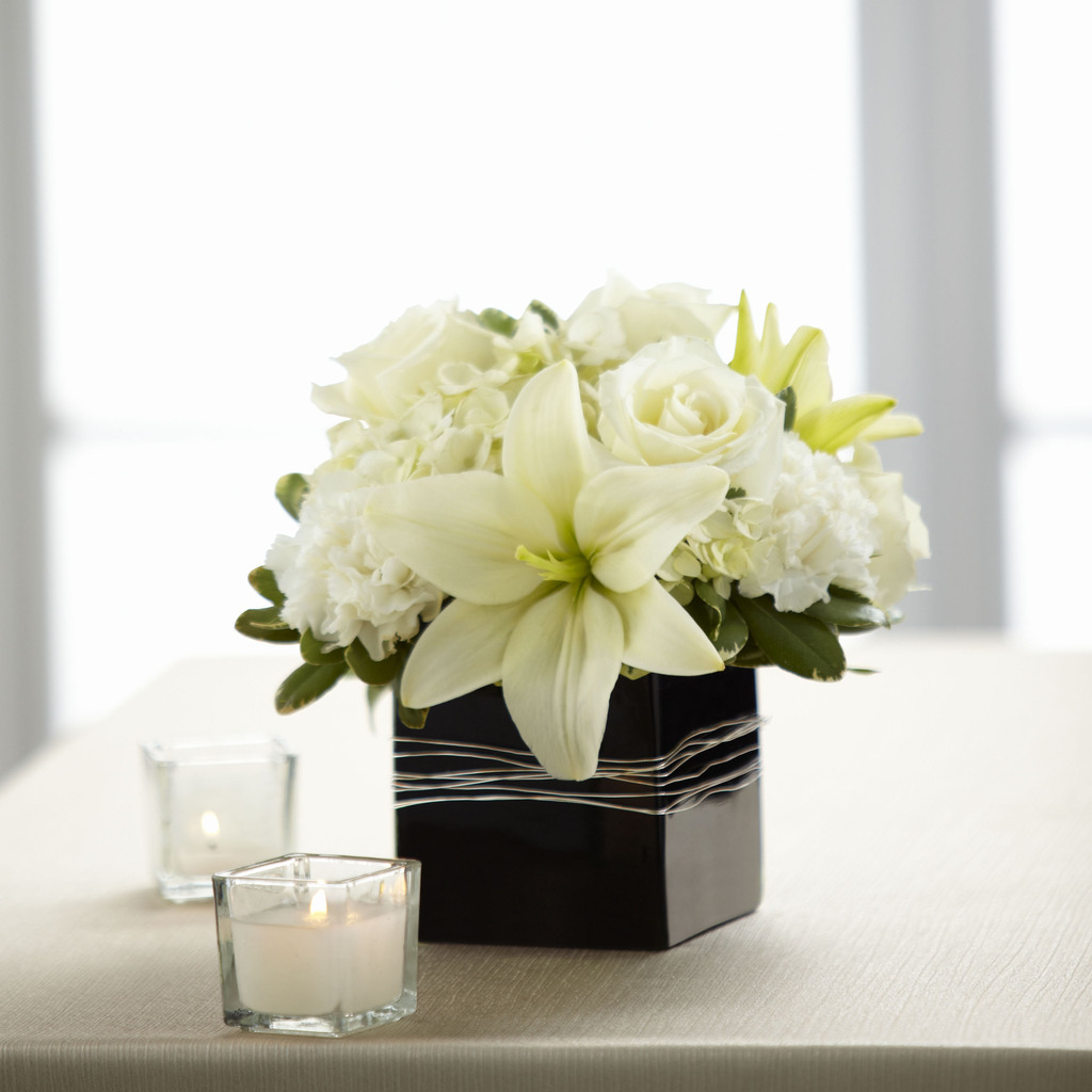 Modern White And Ivory Flower Arrangement