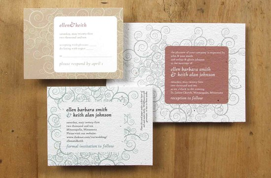 Earth-friendly wedding invitations- Water Lily