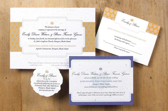 Earth-friendly wedding invitations- Lotus wedding stationery suite