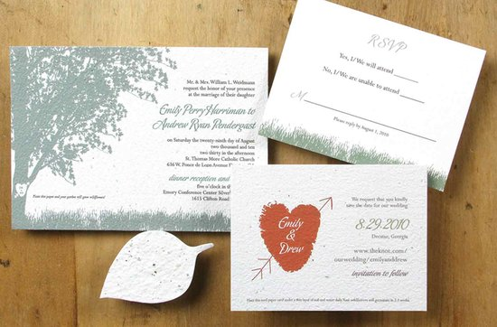 Earth-friendly wedding invitations- Persimmon wedding stationery suite