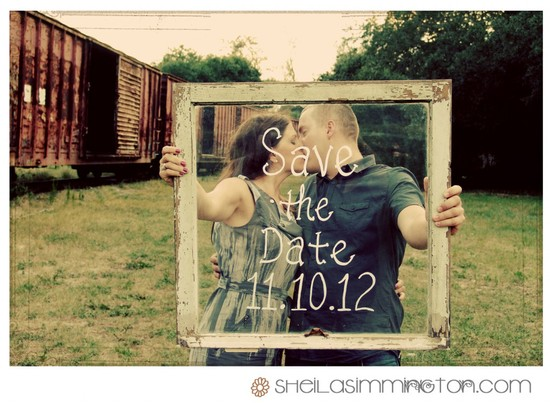 DIY wedding save the date idea vintage frame