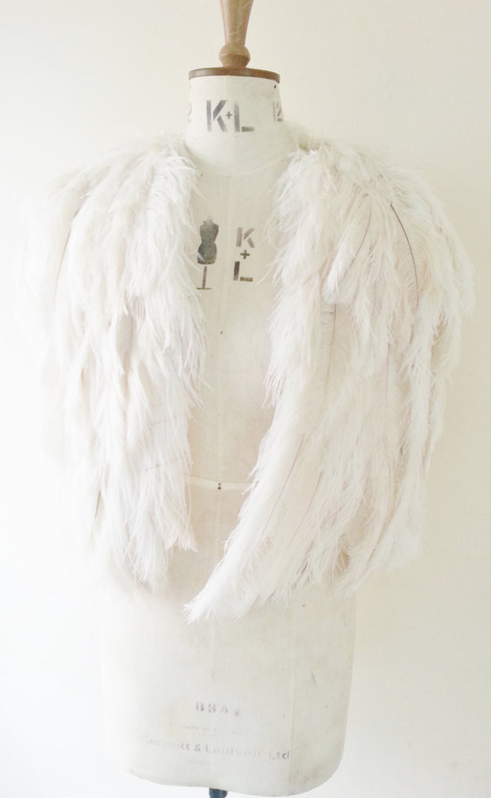 ivory feather wedding cape Gloria