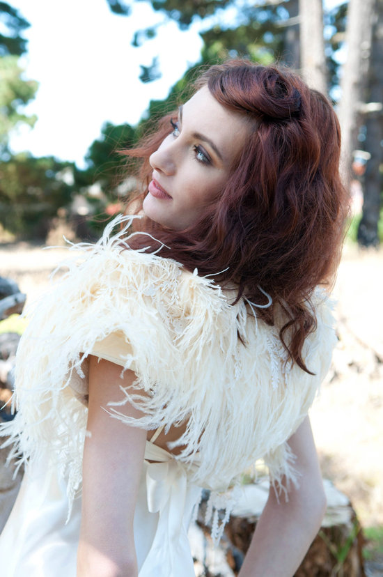 ivory ostrich feather wedding caplet
