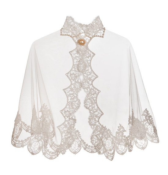 sheer tulle and lace bridal cape