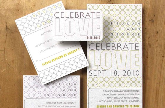 Earth-friendly wedding invitations- Laurel wedding stationery suite