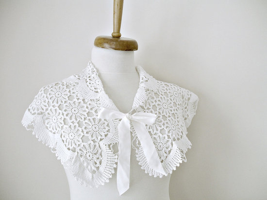 White hand crocheted bridal shrug