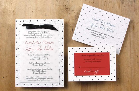 Earth-friendly wedding invitations- Iris wedding invitation suite