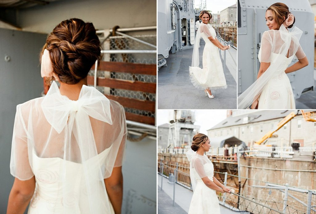 Sheer Tulle Bridal Capelet With Bow Back