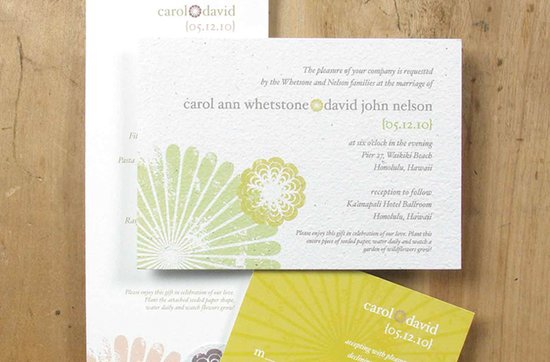 Earth-friendly wedding invitations- Cherry Blossom wedding invitation suite