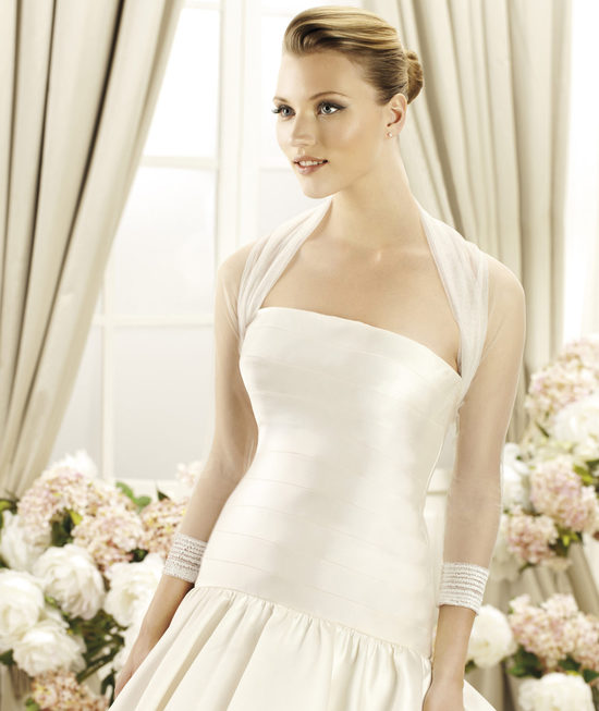 CHAQUETA sheer tulle bridal top