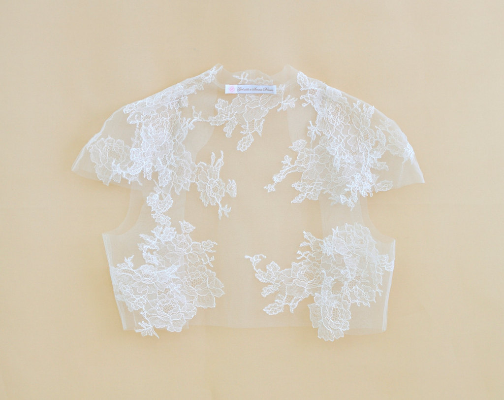 Amber Couture French lace bridal cape