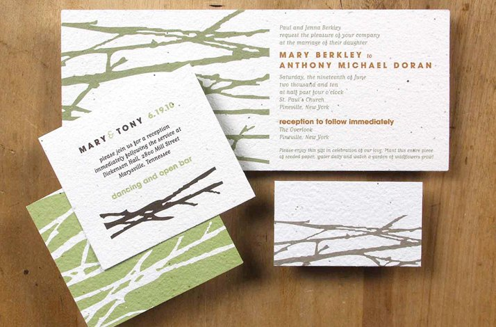 Earth-friendly wedding invitations- Hawthorn wedding stationery suite