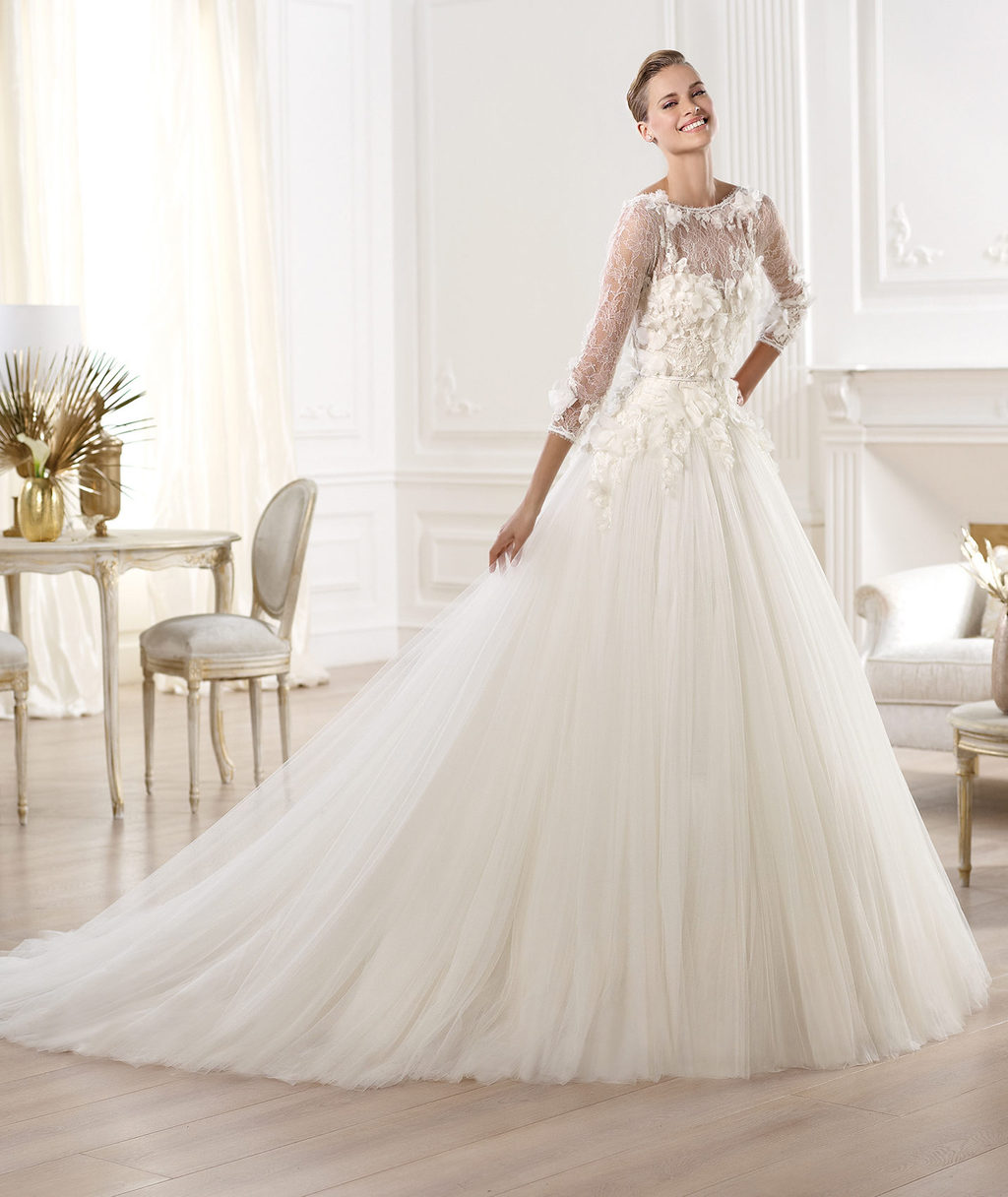 Elie Saab Wedding Dress 2014 Pronovias Bridal Lacerta  OneWed.com