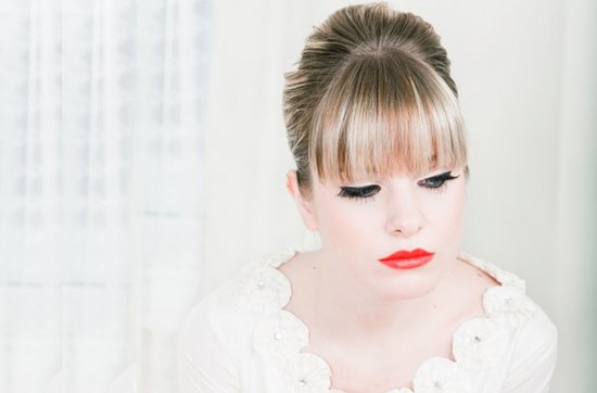 2012 bridal beauty trends- red lips, mod wedding updo, 2
