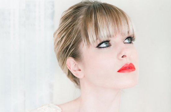 2012 bridal beauty trends- red lips, mod wedding updo