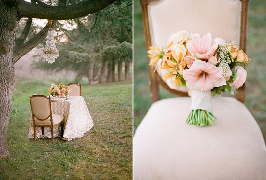 Pale pink and orange romantic wedding bouquet