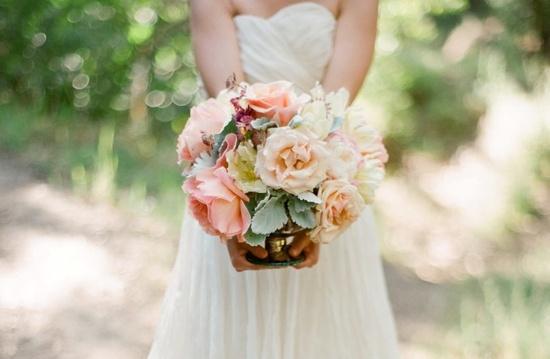 Peach sage blush and ivory wedding bouquet
