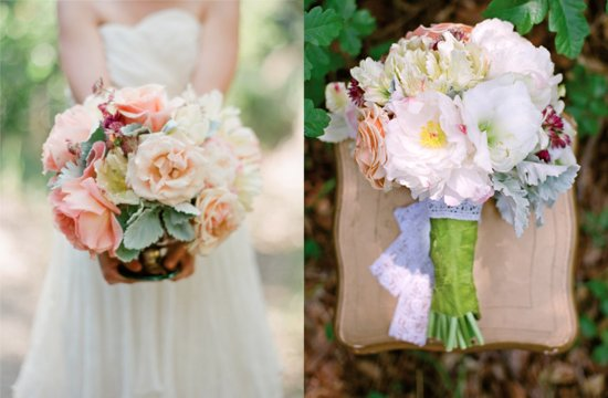 Whimsical pale peach sage and white wedding bouquet