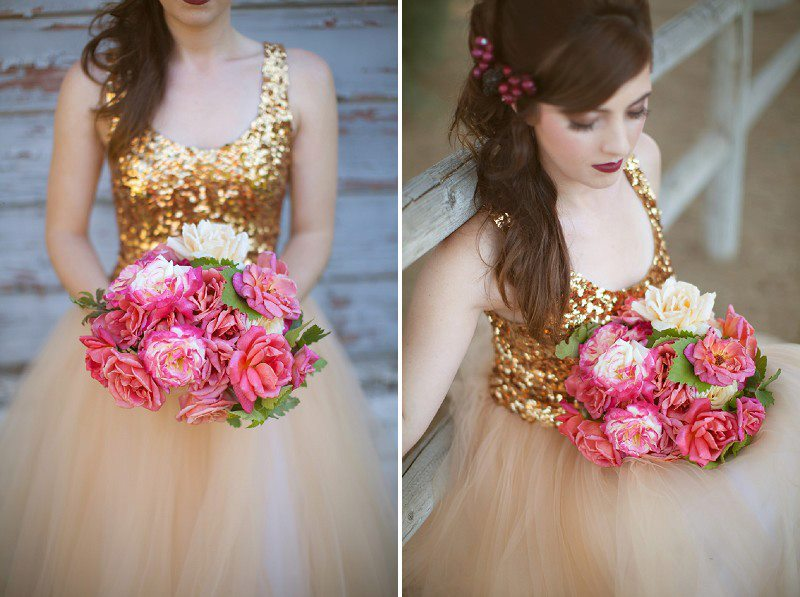 Romantic pink and ivory bridal bouquet paired with sparkly for Pink and gold wedding dress
