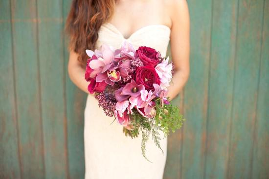 hot pink and plum wedding bouquet
