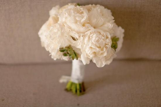Ivory peony wedding bouquet with succulent accents