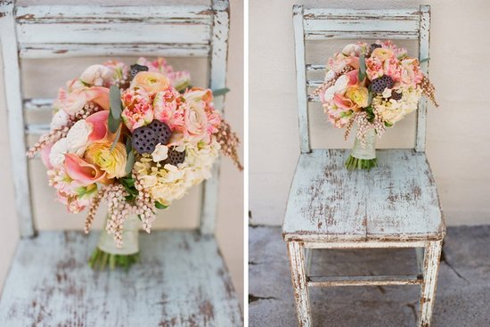 Whimsical vintage garden wedding bouquet